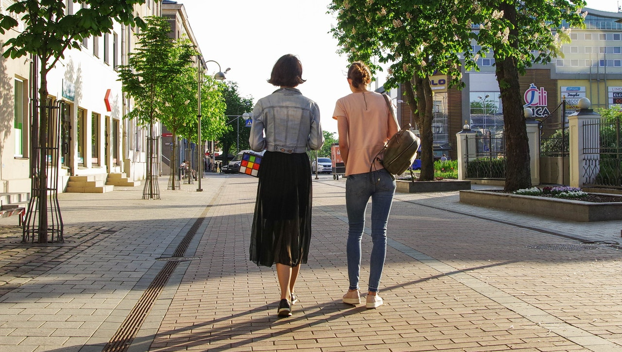 two girls on the way to work